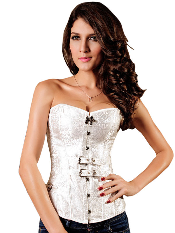 White Steampunk Floral Jacquard Gothic Satin Buckle Corset Bustier 5284 Small