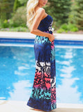 Multi Color Strapless Flattering Boho Printed Stretch Maxi Dress 61496