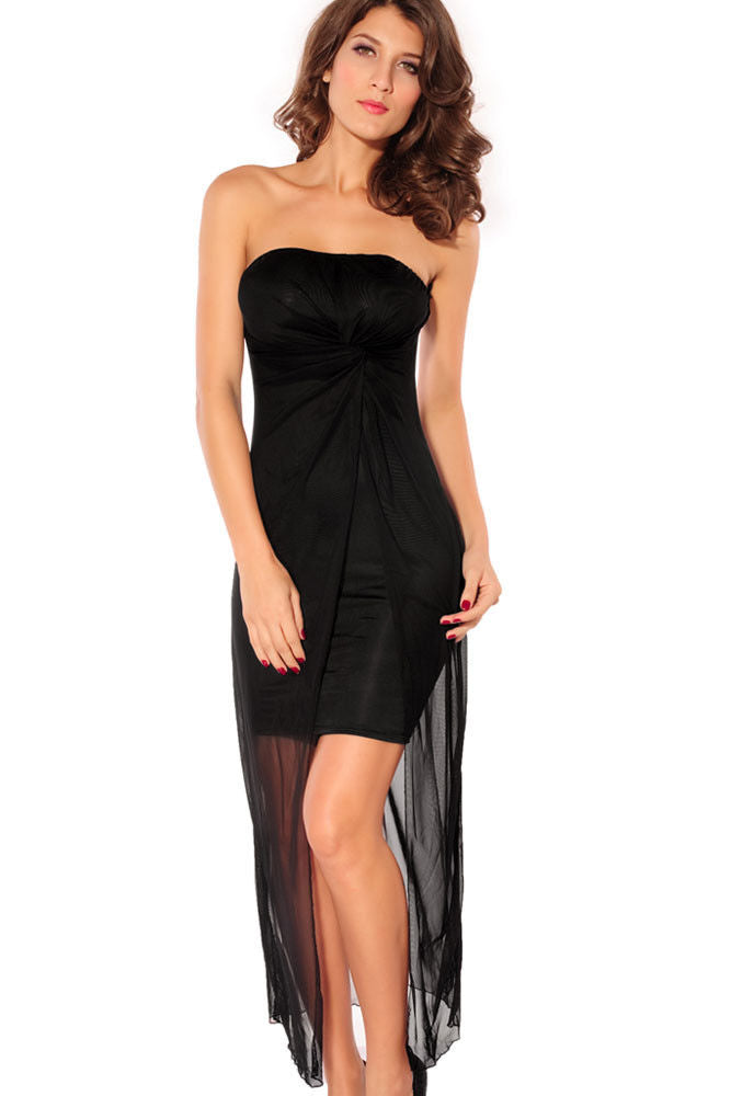 Black Mini Maxi Dress Chiffon Cocktail Holiday Party Strapless One Size 2690