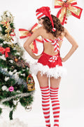 Red Velvet Candy Cane Santa North Pole Christmas Holiday Dress Costume 7165