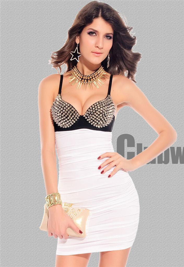 White Dress Black Silver Spiked Punk Rock Ruched Mini Party Rave Large 2680