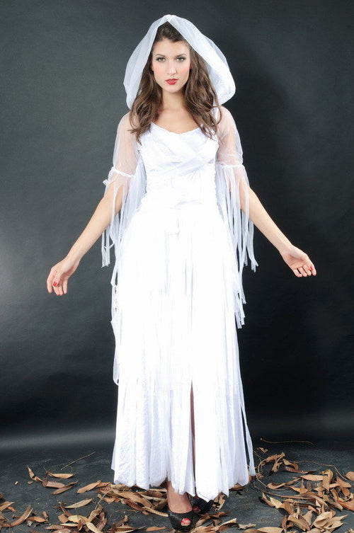 White Witch Enchanting Velvet Ghost Halloween Costume Fringe One Size 8607