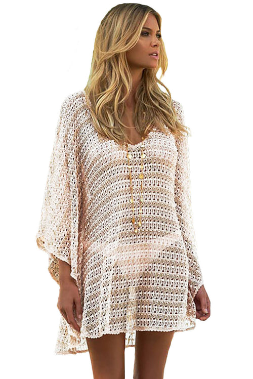 Oversize Knit Crochet Lace Coverup Tunic Dress