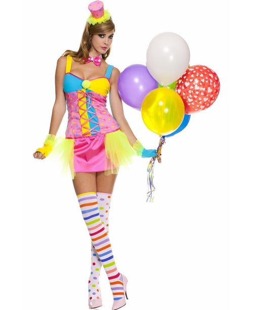 Clown Halloween Costume Multi Color Circus Cosplay Tutu Gloves Hat Small 70495