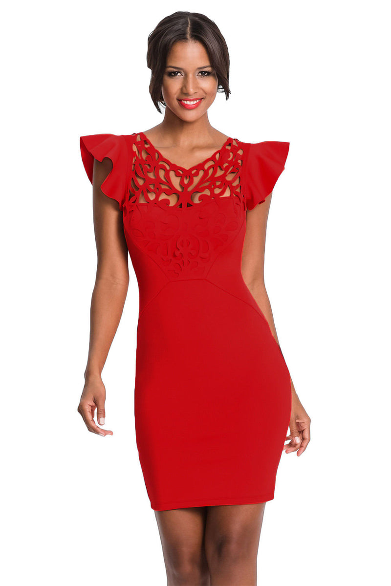 Red Dress Mini Ruffle Sleeves Lace Hallow Out Cocktail Formal Medium 220287