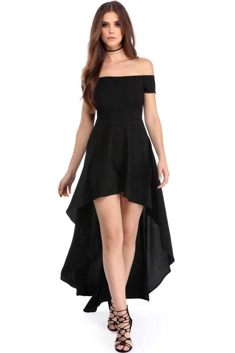 Black High Low Off The Shoulder Cocktail Dress
