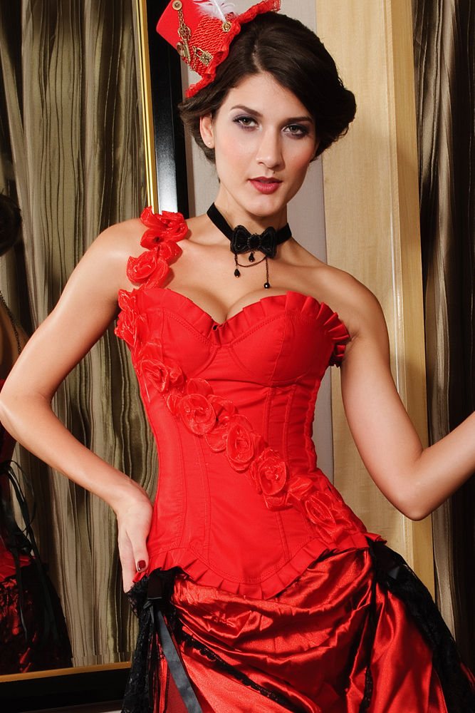 00cff79caf3 Red Corset Bustier Burlesque One Sleeve Lingerie Floral Valentines ...