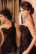 Black Corset Bustier Lingerie One Sleeve Cascading Roses