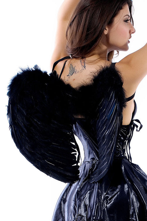 Black Faux Feather Wings with Elastic Band