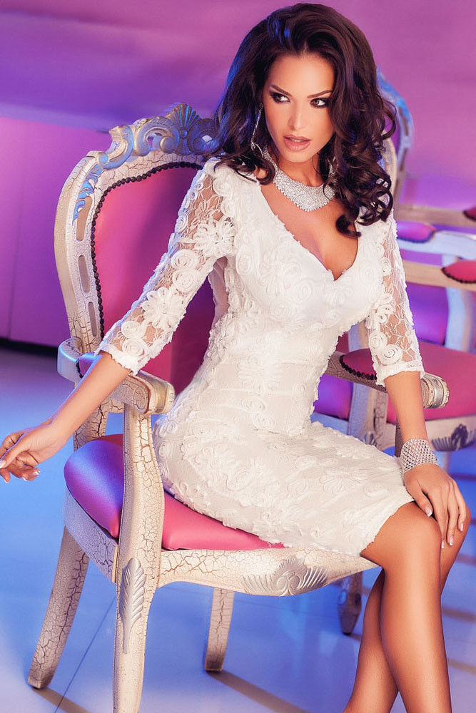White Lace Midi Elegant Cocktail Dress