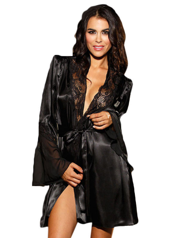 Black Satin Babydoll Robe Lingerie Set
