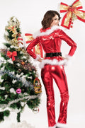 Metallic Vinyl Santa Pant White Faux Fur Festive Christmas Holiday Roleplay 7202