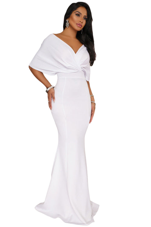 White Off The Shoulder Mermaid Maxi Dress Formal Bridal Gown Medium 61944
