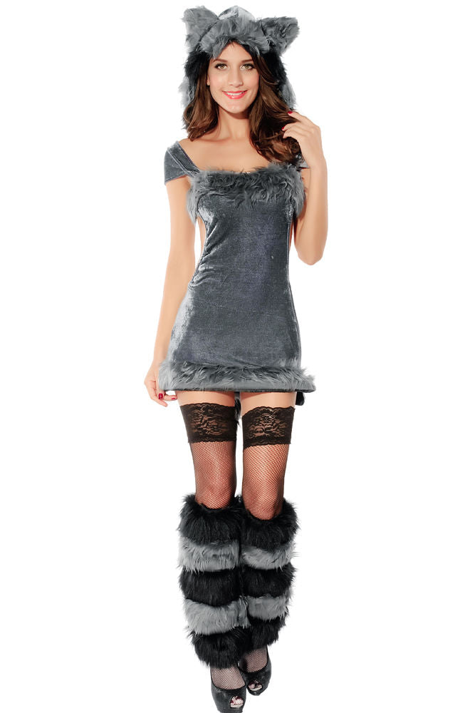 Raccoon Halloween Costume Grey Velvet Dress Furry Animals Cosplay One Size 8676
