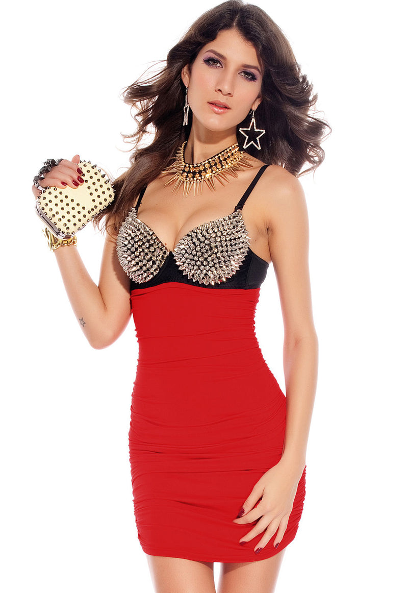 Red Club Dress Clubwear Spiked Punk Rock Mini Party 2680