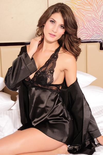 Black Lace Satin Open Back Babydoll Robe Lingerie Set