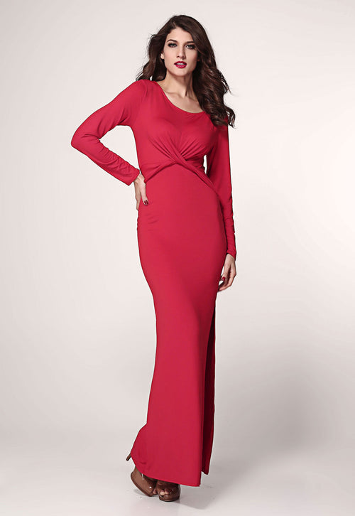 Red Maxi Dress Long Sleeve Twist Detail
