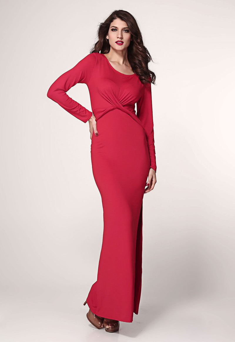 Red Maxi Dress Long Sleeve Twist Detail Slit Christmas Club Wear Cocktail 6180