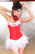 Red Corset Lace Boning Flowers Holiday Lace Up