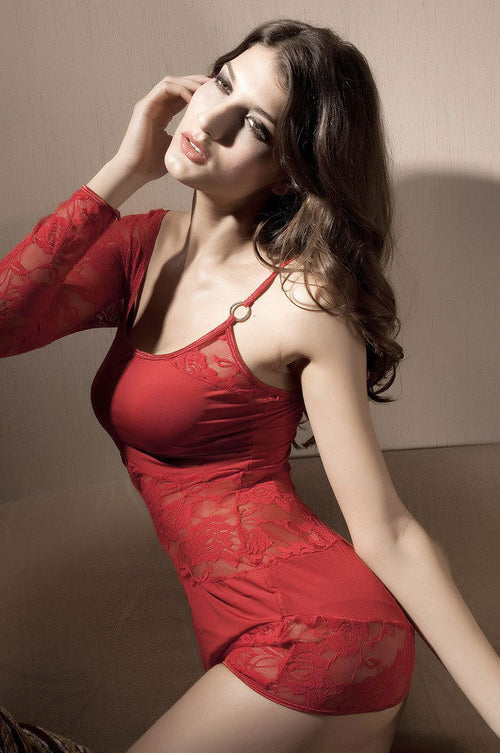 Red Chemise Lingerie Lace One Long Sleeve Mini Dress Stretch One Size 2282