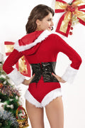 Red Santa Velvet Romper White Faux Fur Festive Christmas Holiday Rave Fest 7129