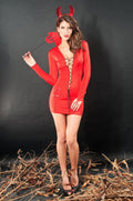Devil Costume Red Dress Satan Lace Up