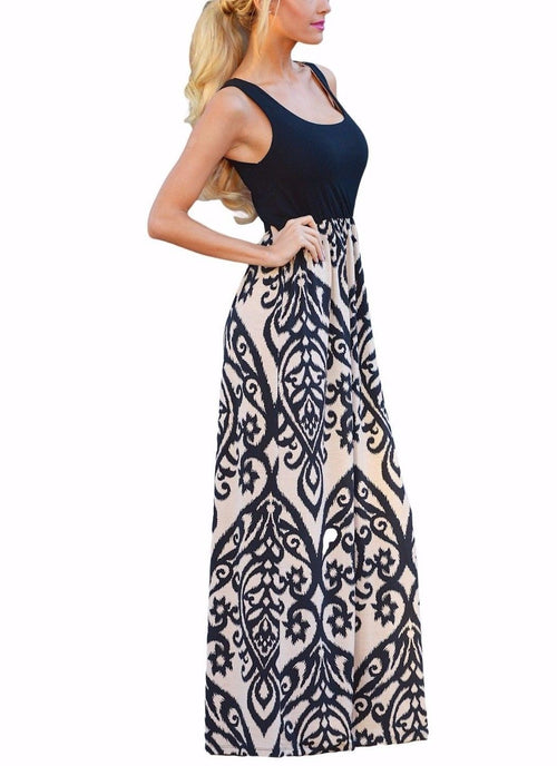 Black Maxi Dress Tank Boho Printed Design Comfy Stretch White Medium 61477