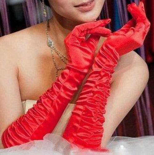 Red Gloves Satin Valentine's Day Evening Ruched 16 Inch Costume Holiday 7055