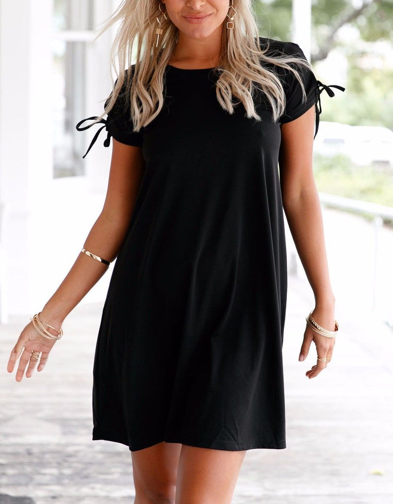 Black Dress Sleek Scoop Neck Stretch Tunic Strappy Short Sleeve Casual 22990 Lg