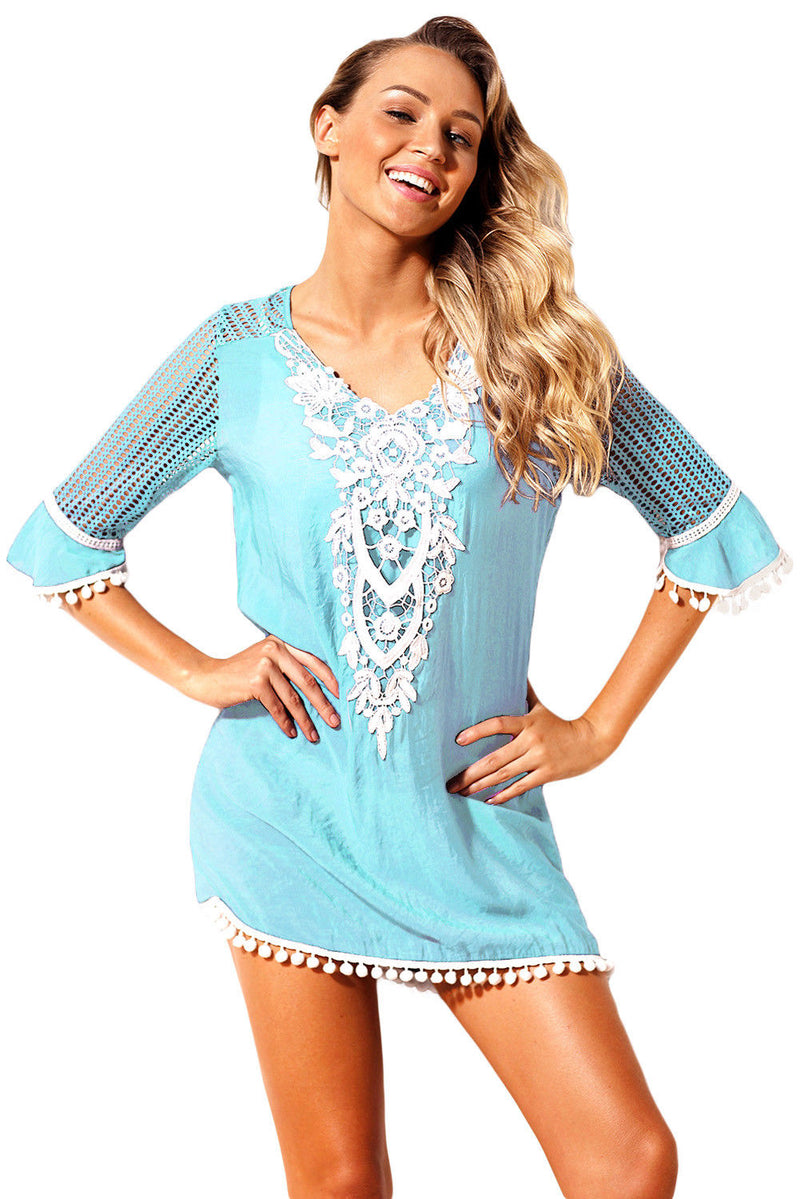 Blue Cover Up Swimwear Beachwear Tunic Crochet Pom Pom Trim