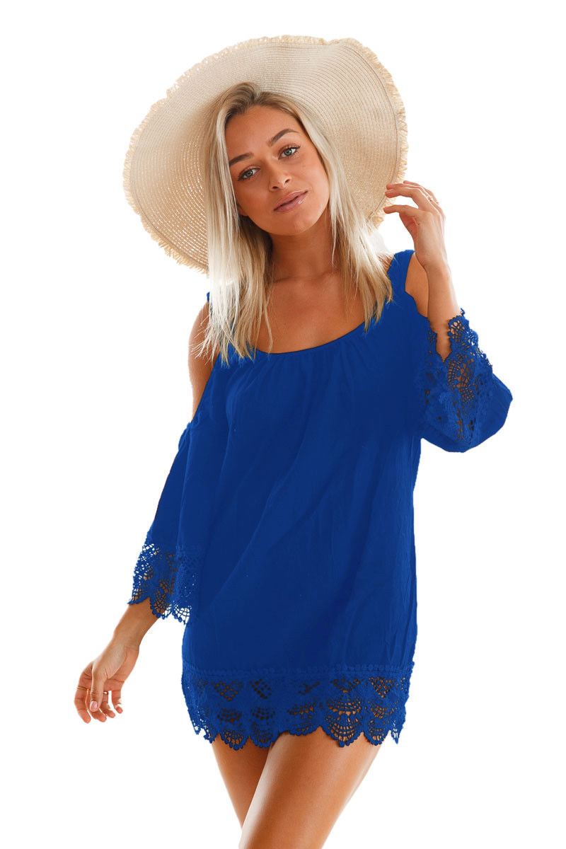 Blue Cover Up Dress Lacy Crochet Trim Open Shoulder Beach Tunic Medium 42128