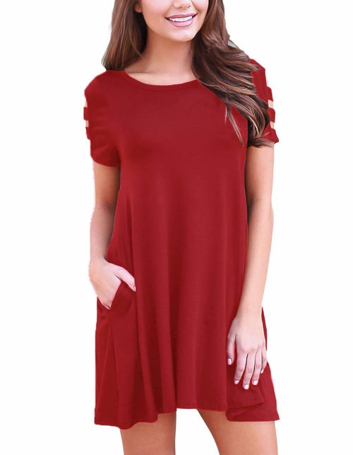 Red Hot Scoop Neck Stretch Tunic Strappy Short Sleeve Pocket Dress 220023 Md