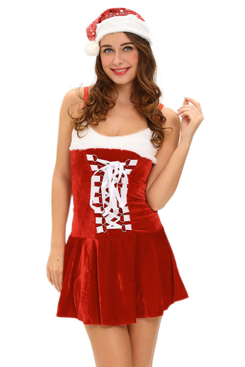 Red Christmas Holiday Santa Costume Buckles Lingerie Festive Party One Size 7107