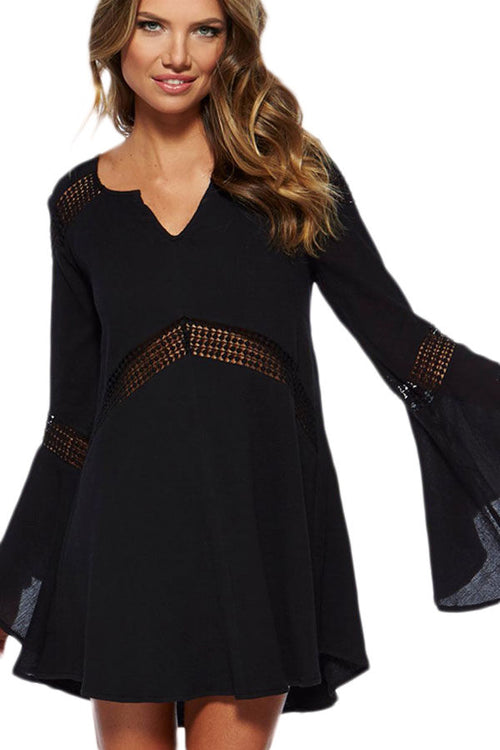 Black Bikini Cover Up Boho Long Bell Sleeve Peekaboo Crochet Lace One Size 40898
