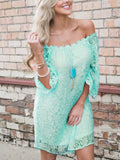 Turquoise Mint Lace Off the Shoulder Long Flowy Sleeve Boho Mini Dress 220033 M