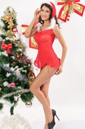 Red Chemise Dress Jingle Bell Mrs Santa Claus White Fur Holiday Christmas 7167