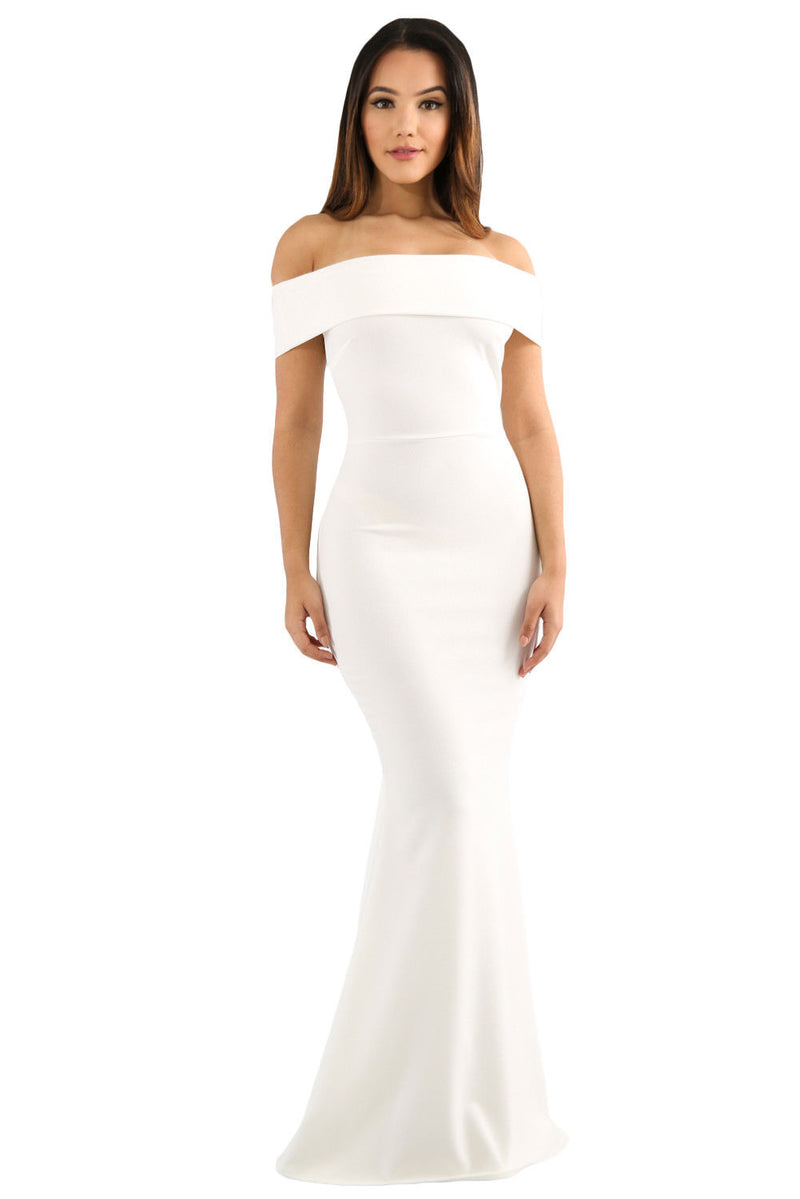 White Foldover Off The Shoulder Slinky Long Party Dress Formal Medium 61786