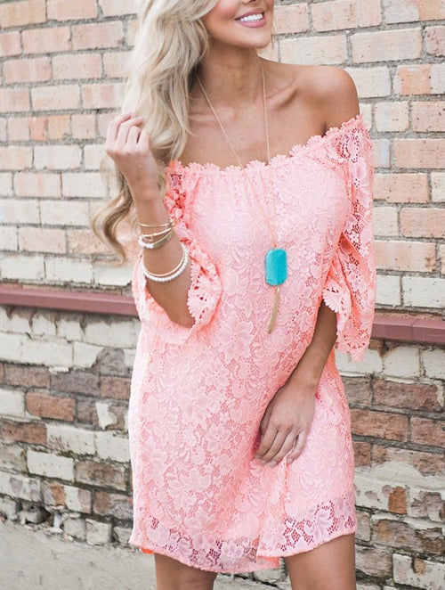 Pink Dress Mini Lace Off the Shoulder Long Flowy Sleeve Boho Cocktail 220033 M