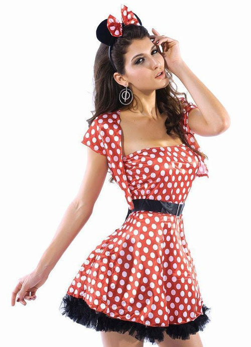 Minnie Mouse Strapless Vintage Dress Halloween Costume Polka Dot One Size 8236