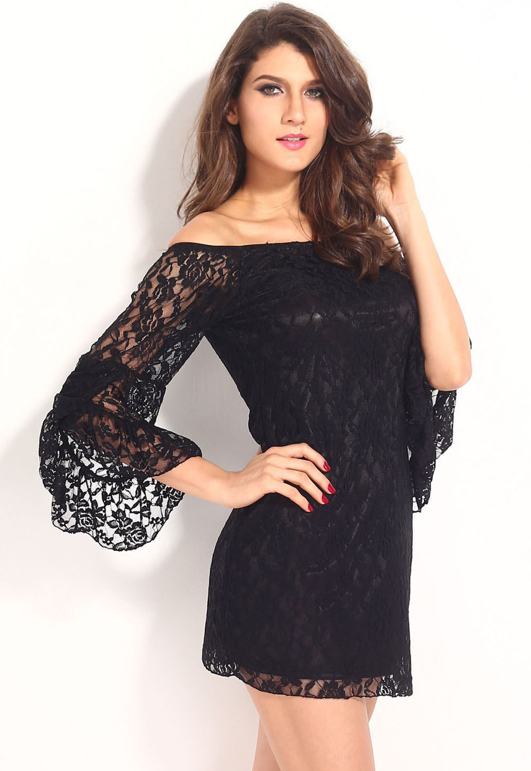 Black Lace Off the Shoulder Long Bell Sleeve Boho Cocktail Mini ...