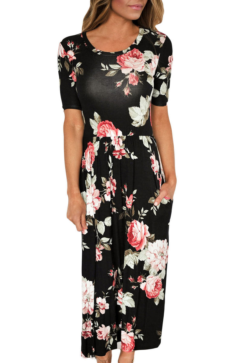 Black Floral Stretch Short Sleeve Pocket Maxi Casual Soft Evening Dress 61550