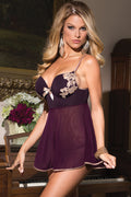 Purple Babydoll Lingerie Gold Satin Bow Applique Mesh Set
