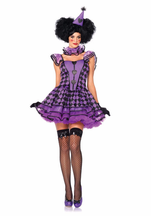 Pretty Parisian Clown Sexy Adult Halloween Cosplay Jester Costume 85354 Size S