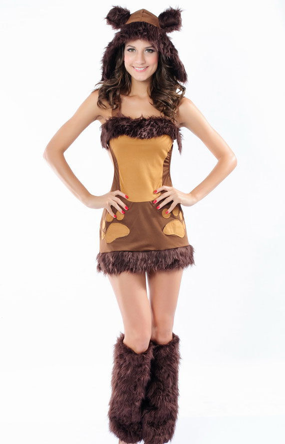 Teddy Bear Brown Furry Rave EDM Hoodie Halloween Costume Cosplay One Size 8637