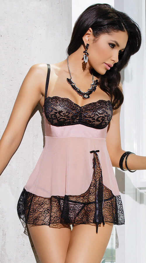 Black Pink Babydoll Lingerie Chemise Lace Sheer Satin Bow Exotic One Size 209