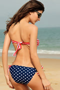 USA Flag Bikini Patriotic 4th of July Bandeau Tie Side Bottoms Beach 40483