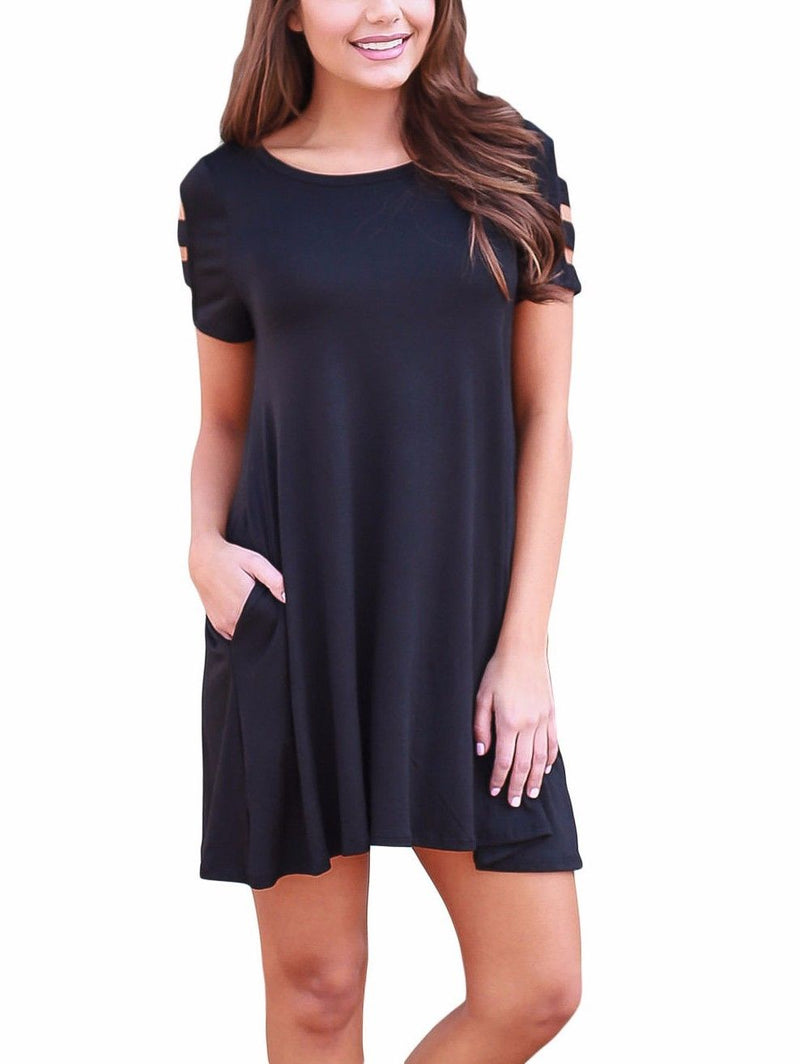 Black Dress Ruffle Short Sleeve Summer Scoop Neck Stretch Casual
