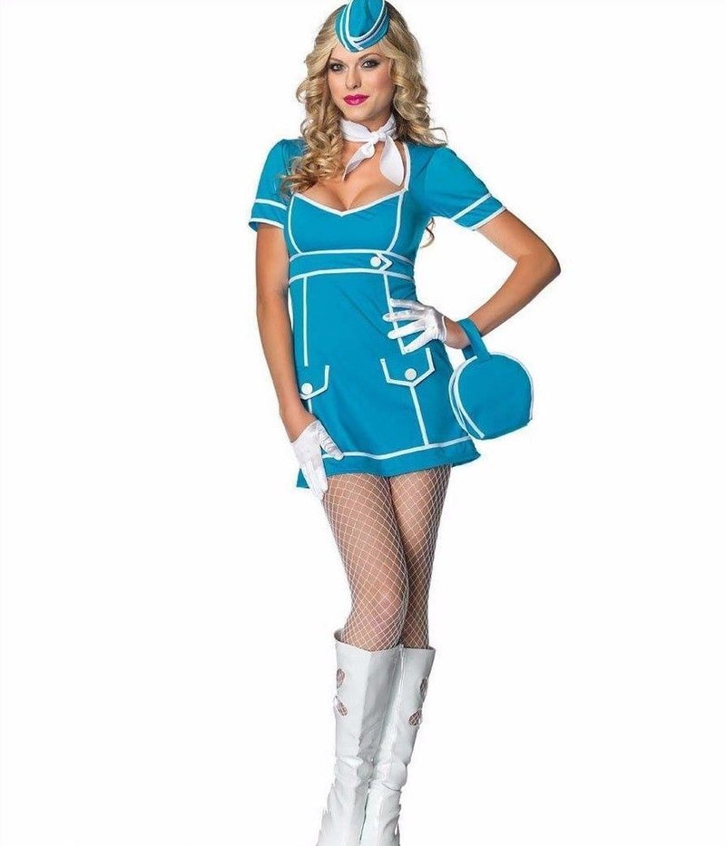 Blue Flight Attendant Girl Military Retro 60s Halloween Costume Medium 83832