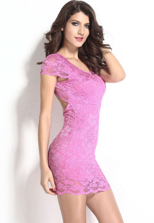 Pink Lace Floral Short Sleeve Backless Stretch Bodycon Mini Dress Medium 21271
