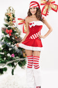 Red White Candy Cane Bows Fur Trim Holiday Festive Christmas Lingerie Dress 7166